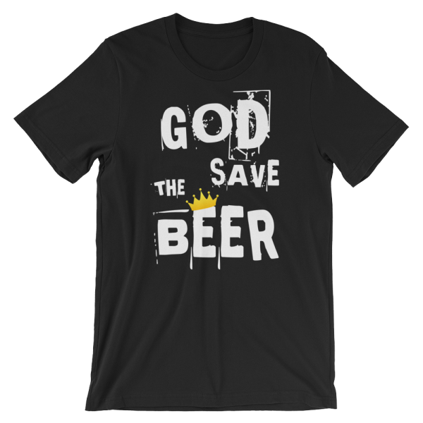 God Save The Beer Short Sleeve Jersey Black T-Shirt