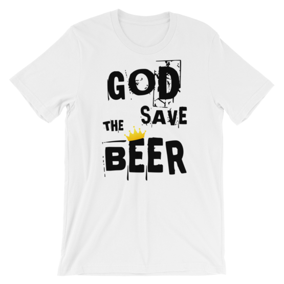 God Save The Beer Short Sleeve Jersey White T-Shirt