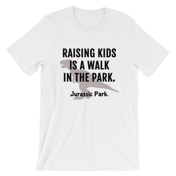 Raising Kids Is A Walk In The Park. Jurassic Park Short Sleeve Jersey Forest White T-Shirt