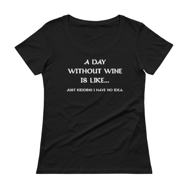 A Day Without Wine Is Like...Just Kidding I Have No Idea Ladies Black T-Shirt