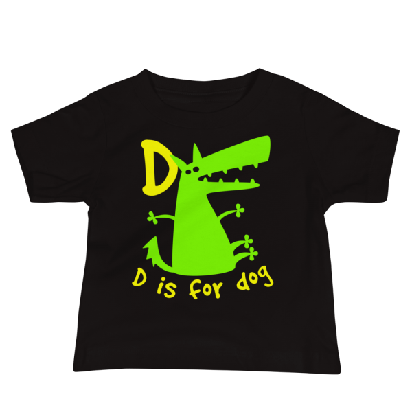 D Is For Dog Baby Jersey Short Sleeve Black Tee