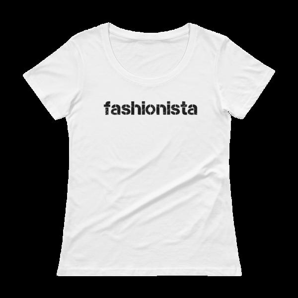 Fashionista Ladies Sheer Scoopneck White T-Shirt