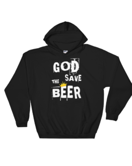 God Save The Beer Heavy Blend Black Hooded Sweatshirt