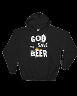 God Save The Beer Heavy Blend Black Hooded Sweatshirt