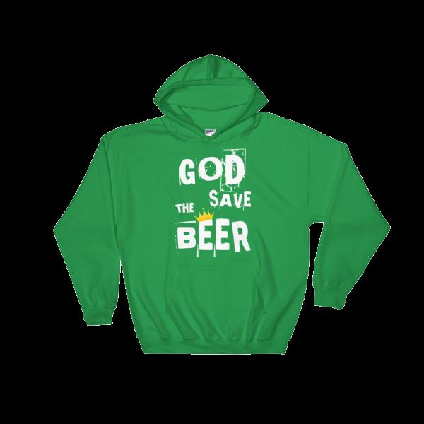 God Save The Beer Heavy Blend Green Hooded Sweatshirt