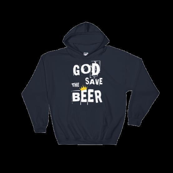 God Save The Beer Heavy Blend Navy Hooded Sweatshirt