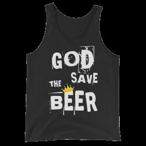 God Save The Beer Unisex Black Tank Top