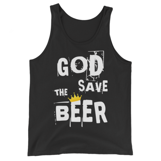 God Save The Beer Unisex Black Tank Top