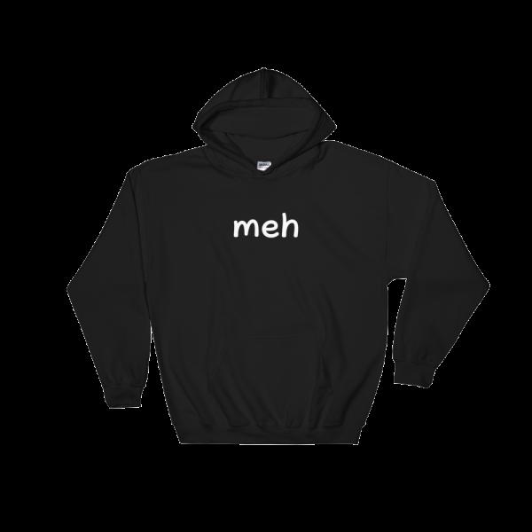 Meh Heavy Blend Black Hooded Sweatshirt