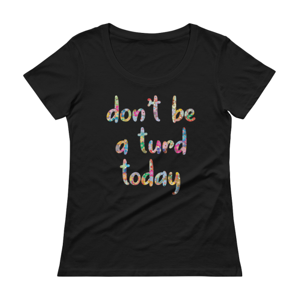 Don't Be A Turd Today Ladies Sheer Scoopneck Black T-Shirt