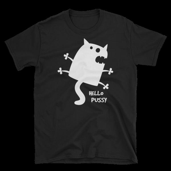 Hello Pussy Unisex Softstyle Black T-Shirt