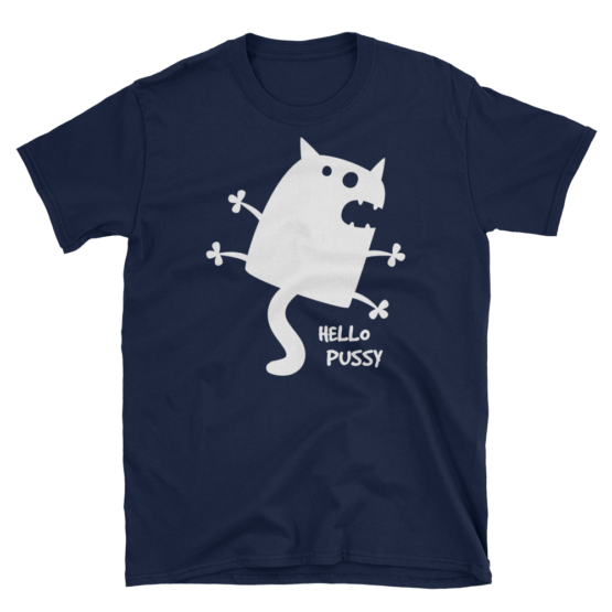 Hello Pussy Unisex Softstyle Navy T-Shirt