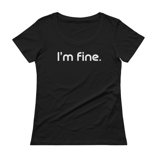 'm Fine Ladies Sheer Scoopneck Black T-Shirt