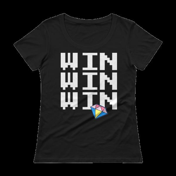 Win Win Win Ladies' Scoopneck Black T-Shirt