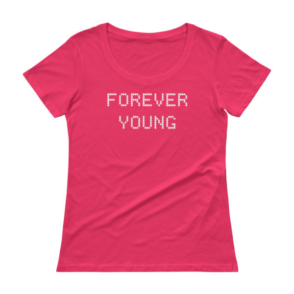 Forever Young Ladies' Scoopneck Pink T-Shirt