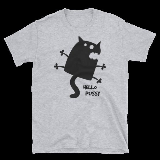 Hello Pussy Unisex Softstyle Grey T-Shirt