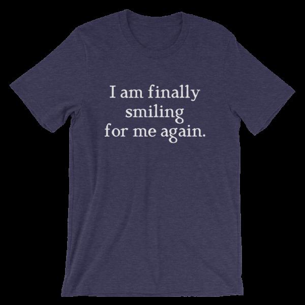 I Am Finally Smiling For Me Again Short-Sleeve Unisex Navy T-Shirt