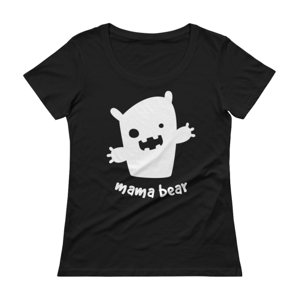 Mama Bear Ladies' Scoopneck Black T-Shirt