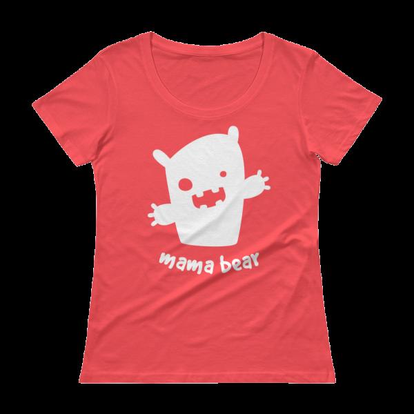 Mama Bear Ladies' Scoopneck Coral T-Shirt