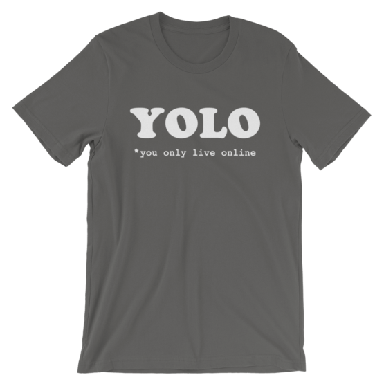 YOLO You Only Live Online Short-Sleeve Asphalt T-Shirt