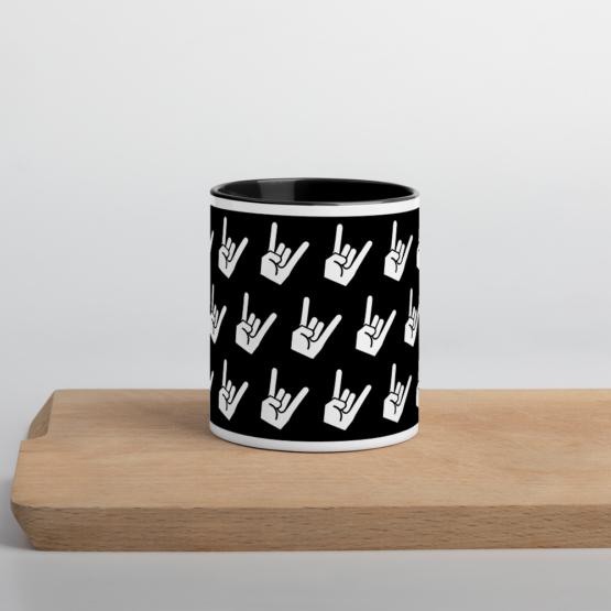 Devil's Horns Black Coffee Mug Front