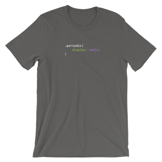 CSS .Periodic table Short-Sleeve Unisex Asphalt T-Shirt