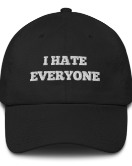 I Hate Everyone Black Cotton Cap Front