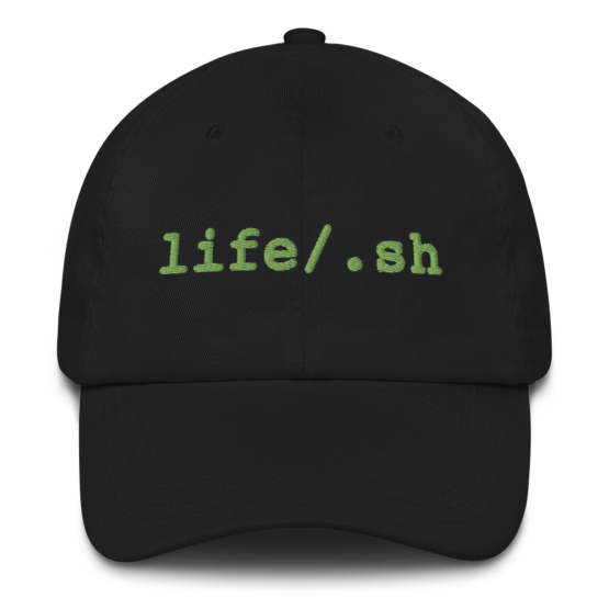 Life Is Code Black Dad Hat Front