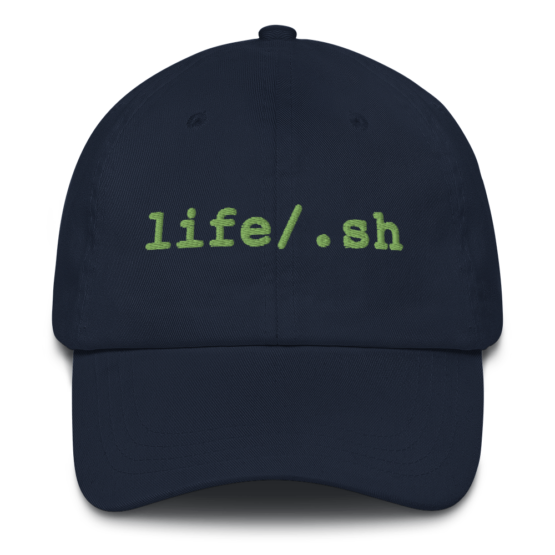 Life Is Code Navy Dad Hat Front