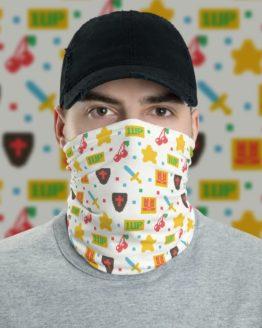 8 Bit Game Neck Gaiter Men Face Shield with background