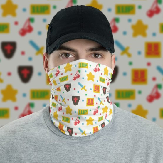 8 Bit Game Neck Gaiter Men Face Shield with background