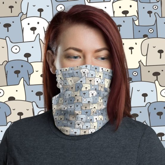 Charming Puppies Neck gaiter face shield women front with background