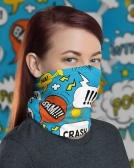 Comic Bubbles Neck Gaiter Women Face Shield with background