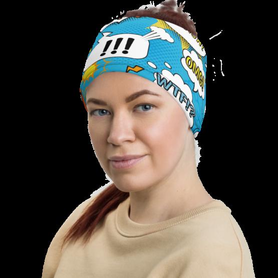 Comic Bubbles Neck Gaiter Women Headband Side