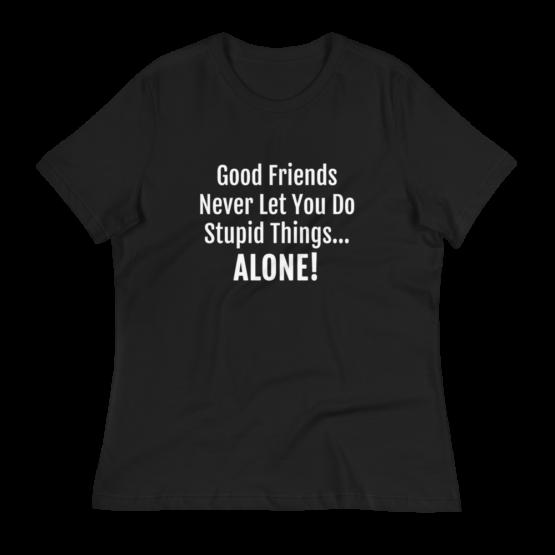 Good Friends Women's Relaxed Black T-Shirt
