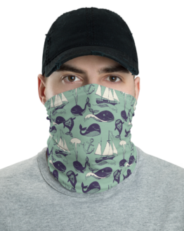 Hipster Marine Theme Neck Gaiter Men Face shield Front