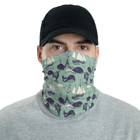 Hipster Marine Theme Neck Gaiter Men Face shield Front