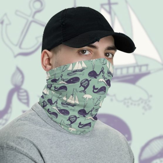 Hipster Marine Theme Neck Gaiter Men Face shield with background