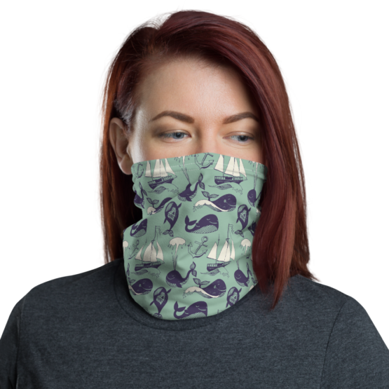 Hipster Marine Theme Neck Gaiter Women Face shield Front