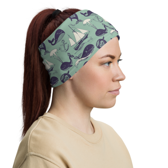 Hipster Marine Theme Neck Gaiter Women Headband