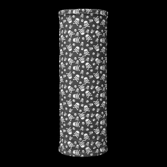 Skull Pattern Neck gaiter On-Tube Flat White