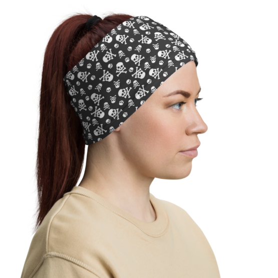 Skull Pattern Neck gaiter woman headband side