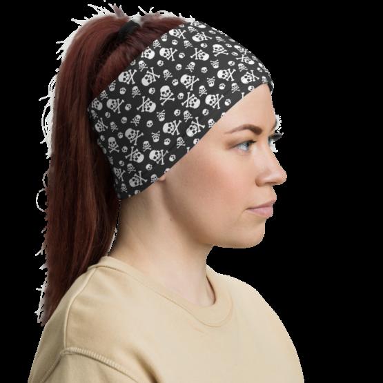Skull Pattern Neck gaiter woman headband side