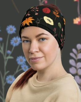Summer Night Meadow Neck Gaiter Woman headband front with background