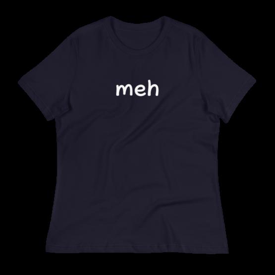 Meh Women's Relaxed Navy T-Shirt