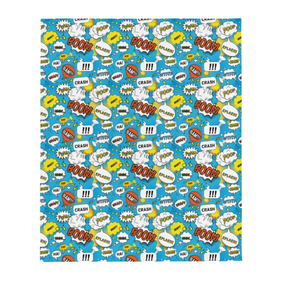 Comic Bubbles Throw Blanket Flat
