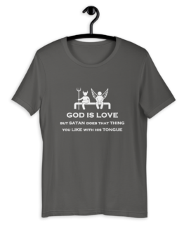 God is Love Short Sleeve Jersey T-Shirt on hanger