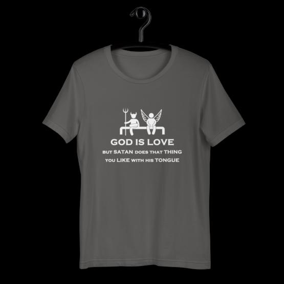 God is Love Short Sleeve Jersey T-Shirt on hanger