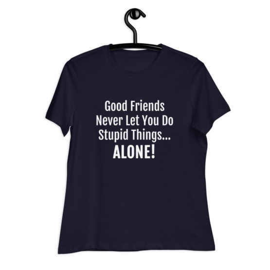 Good Friends Women's Relaxed T-Shirt on hanger