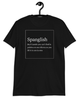 Spanglish Explained Short-Sleeve Unisex Black T-Shirt